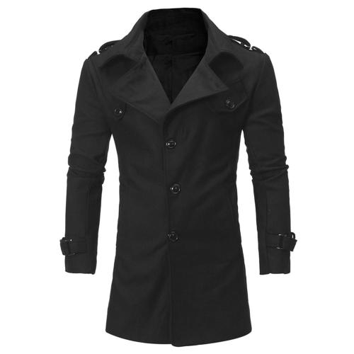 Warm Turndown Collar Wool Men Outwear Coats with Breasted Belt Epaulets 9818