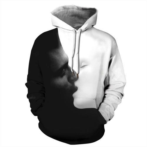 Big and Tall 3D Kiss Print Loose Hoodie Sweatshirt Jacket For Men Women