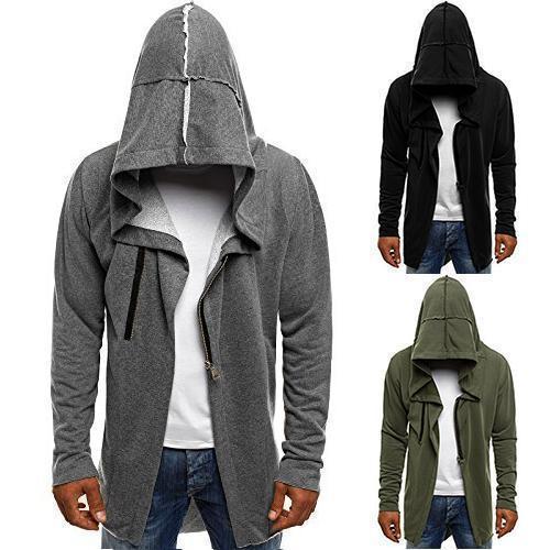 Men's Solid Color Fashion  Cardigan Hoodie