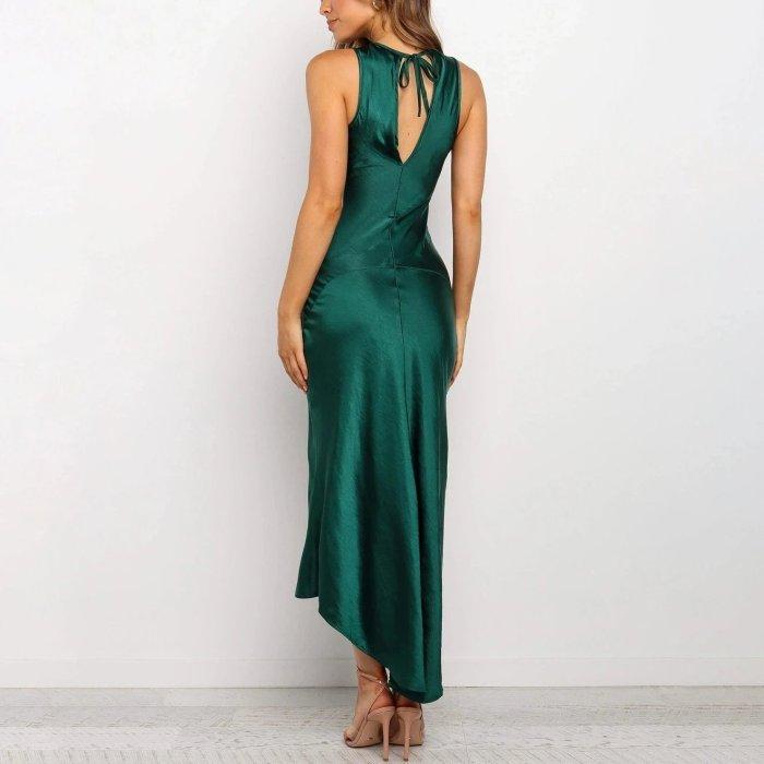 Sexy Open Back Split Fur Dress