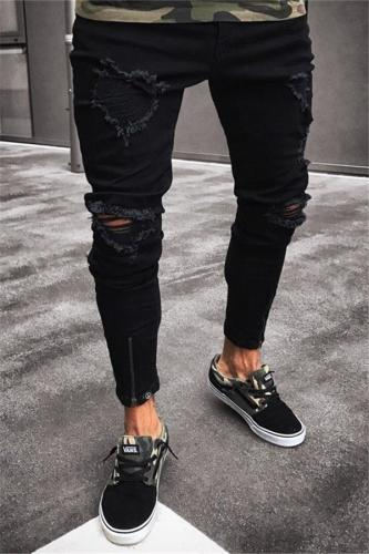Casual Ripped Jeans Show Thin Elastic Skinny Pants
