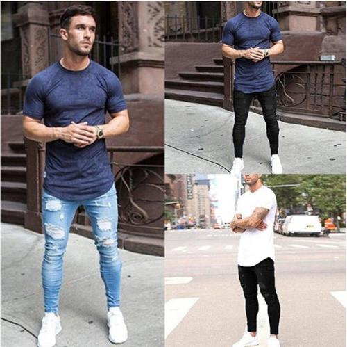 Jeans Washed Tight Knee Knit Pants