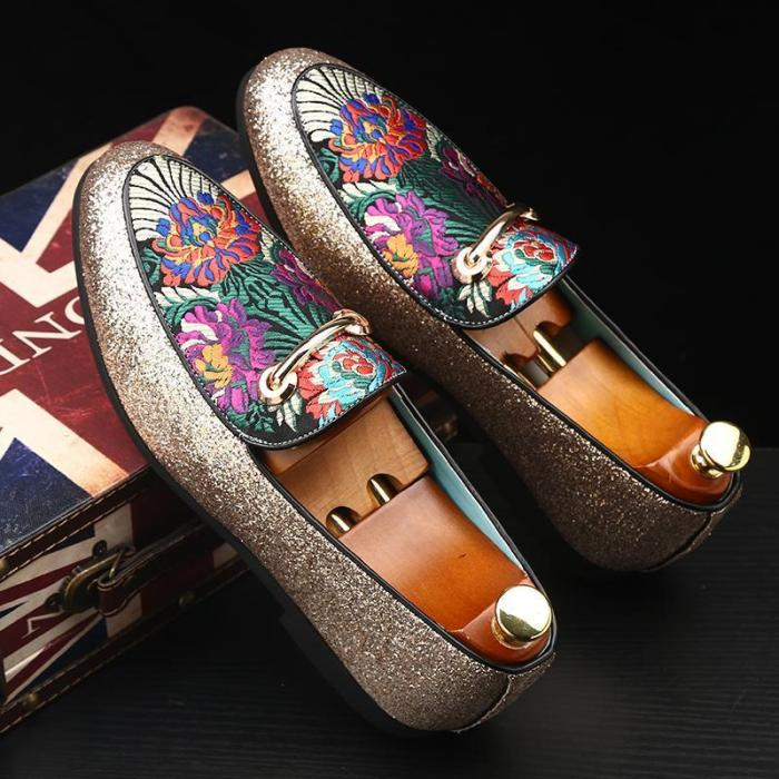Fashion Loafers Brand Embroidered Dress Shoes