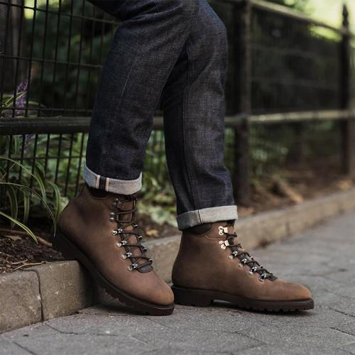 Men's fashion solid color cross strap ankle boots