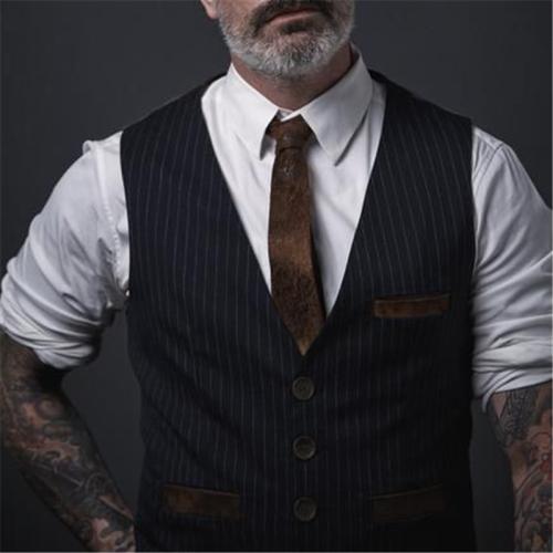 Men's Striped Pocket Vest