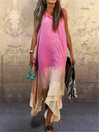 Tie Dye Print Dress Women Purple Gradient Ruffled Rainbow Dress Plus Size Sleeveless O Neck Long Maxi Casual Dress