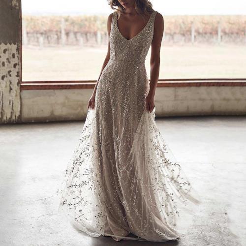 Fashion Elegant V-Neck Slip Mesh Evening Dress