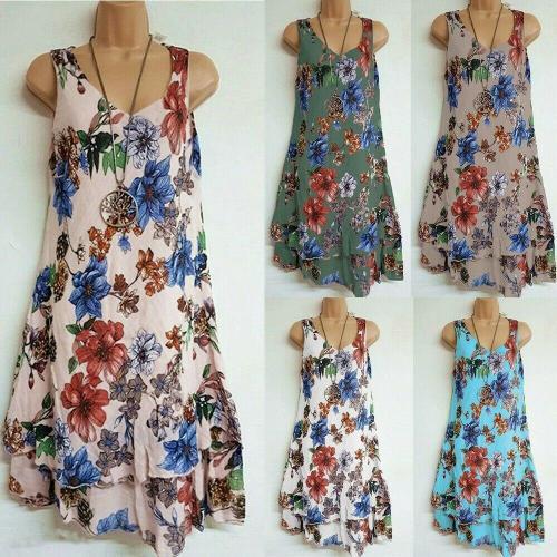 Fashion Women Summer Casual Sleeveless Slim Evening Party Beach Boho Floral Print Dress Short Mini Dresses