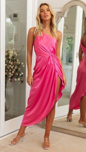 One-shoulder oblique shoulder waist ruffled split irregular bodycon evening dress