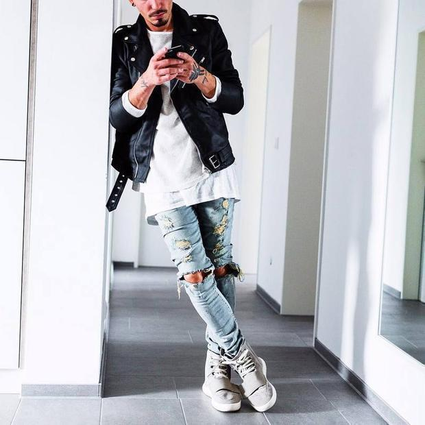 Fashion Street Style Cool Plain Hole Jeans Pants
