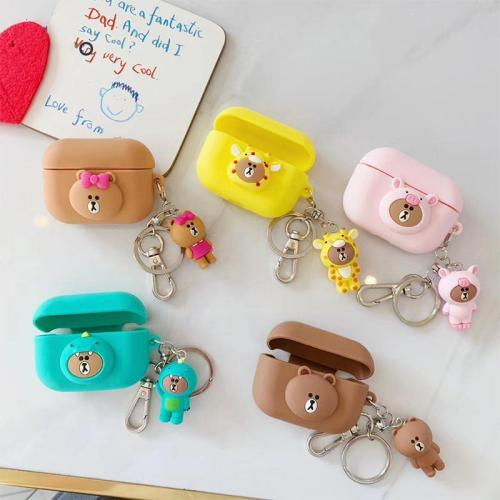 Cartoon Silicone AirPods Pro Case ShockProof Cover With Keychain
