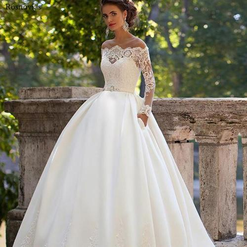 Illusion Long Sleeves Wedding Dresses 2020 Jewel Covered Button Back Sweep Train Modest Ball Gowns Bridal Gowns Vestido De Novia