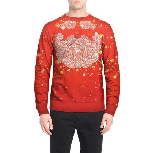 Fashion Round Collar Red Loose Printed Hoodie
