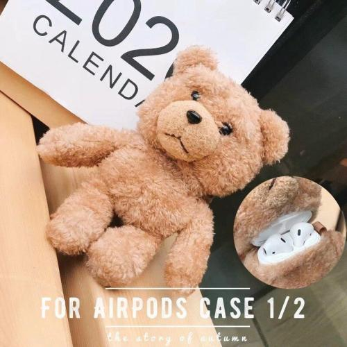 Winter Warm Furry Bear AirPods Charging Headphones Cases