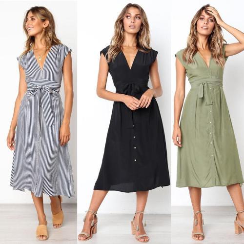 2020 Summer Dress Women Sleeveless Casual Stripe Dresses V Neck Bangage Midi Dress Female Knee Length Vintage Sundress For Lady