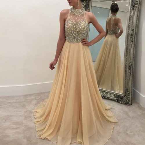Sleeveless sequined halter dress chiffon dress