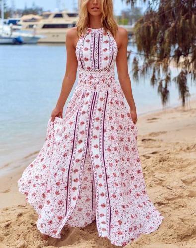 Sleeveless Backless Bohemia Dresses Sexy Long Print Floral Maxi Dress