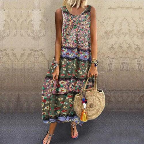 Plus Size 5XL Summer Woman Dresses Vintage Maxi Dress Floral Print O-Neck Ankle Length Bohemian Beach Lantern Dresses