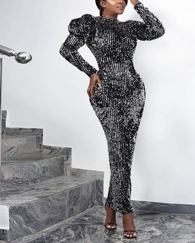 Sequined Puff Sleeve Evening Dress
