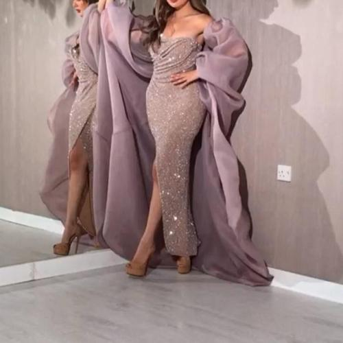Solid Color Mesh Sequin Split Evening Dress