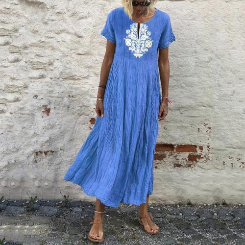 Solid Color Printed Short-Sleeved Dress