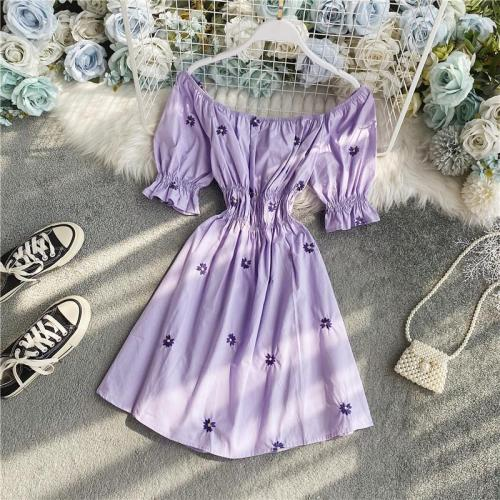 JOYMANMALL Women Summer Word Shoulder Dress Sexy Slash Neck Retro Puff Sleeve A-line Dress 2020 Elastic Ruched Floral Short Dress