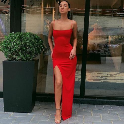 Sexy Women's Maxi Dresses Strap Backless Split Long Dress Fall Elegant Ladies Party Club Dresses robe vestido clothes vintage bf