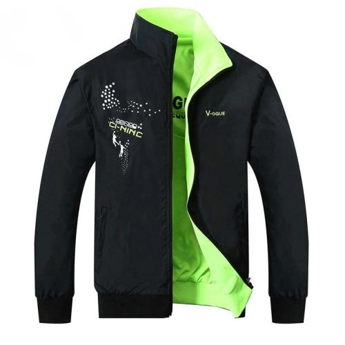 2020 New men Jacket Male Spring Autumn Zipper Embroidery Printing Double Surface side Brand Jacket Men's Casual Thin Jacket Coat