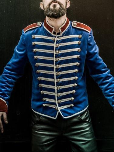 Fashion Men's Decorative Buckle Stitching Color Coat