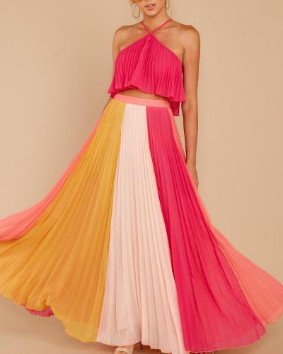 Hanging Neck Rainbow Striped Pleated Dress Evening Dress
