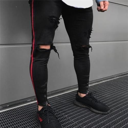 Sport Fashion Slim Strip Hole Close-Fitting Men Pants