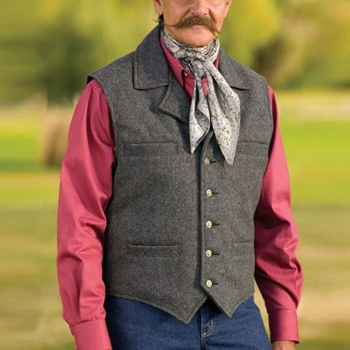 Mens classic casual solid color buckle vest