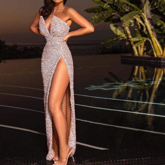 Sexy Off-the-shoulder Slit Evening Dress
