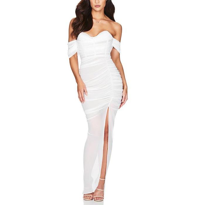 Fashion Off-The-Shoulder Wrinkle Side Slit Bodycon Dress