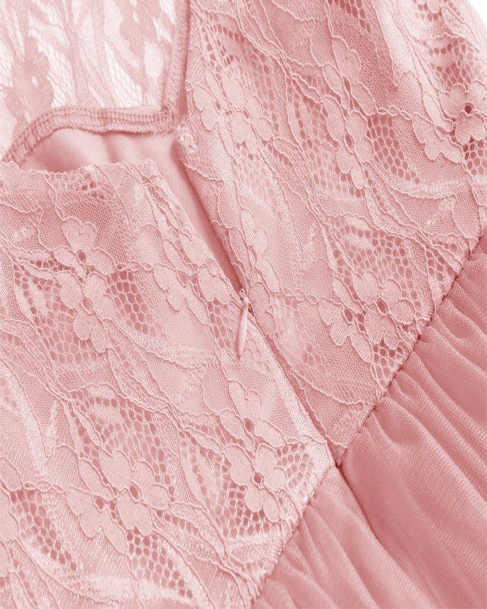 robe de soiree Women Sexy Sleeveless Hollow Lace evening dress Female Elegant Party Dresses Net yarn evening gown