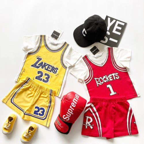 Tonytaobaby Boy's and Girl's Sports Suit 3D Color Matching Basketball Clothing Cotton Casual Upper and Lower Two Sets