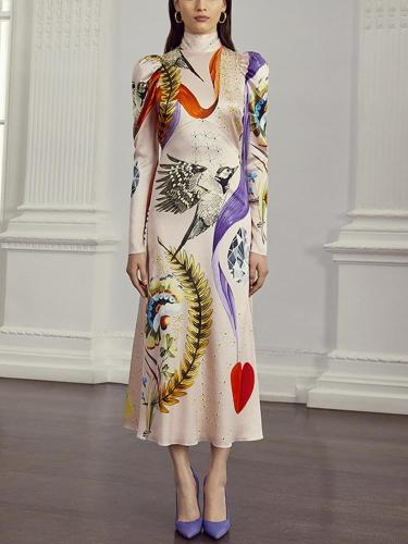 Elegant Printed High Collar Ankle-Length Fitted Dress
