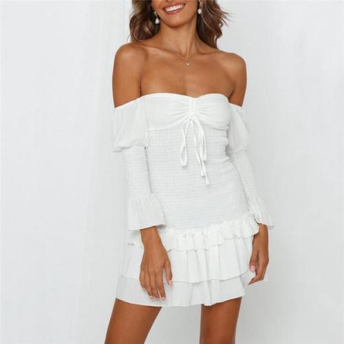 Elegant Off Shoulder Falbala Wrinkle Bodycon Dress
