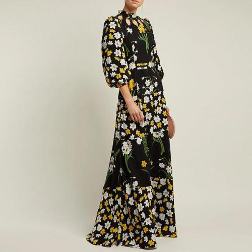 Flash Sale Splicing Printing Lantern Sleeve Maxi Dress Evening Dress