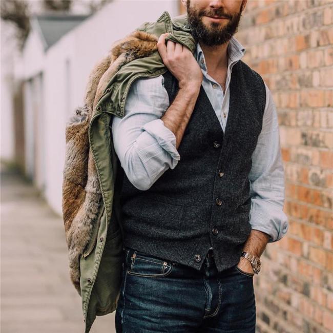 Men's Solid Color Single Breasted Vest