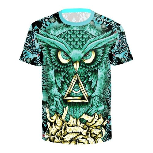 Owl Printed Round Neck Pullover Short Sleeve T-shirt