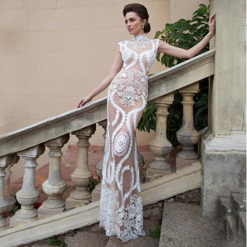 elegant white dress lace embroidery Evening Gowns  women's evening dress sexy mermaid evening party dresses long Gowns