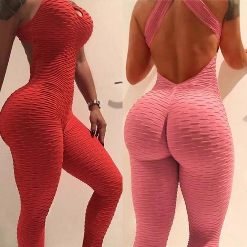 LOOZYKIT Women's Sports Set Backless Playsuit Fitness Tights Jumpsuits Costume Yoga Suit Gym Bodysuit Tracksuit Gym Sport Set