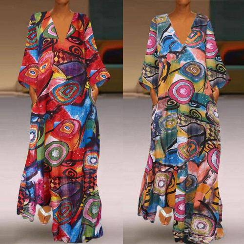 Plus Size 5XL Vintage Dress Woman's Dress Summer Maxi Dress V Neck Ankle Length Casual Boho Beach Woman Dress Femme Robe Vestido