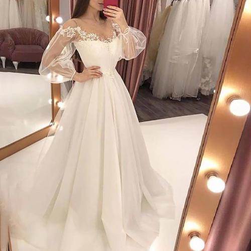 Elegant Lace See-Through Splicing Evening Dress