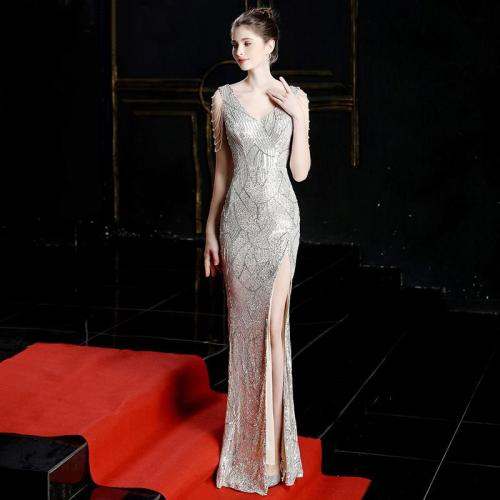 V-neck Sequined Lace Mermaid Evening Dresses Long Prom Party Dress High Split Ladies Solid Sexy Robes Elegant Formal Gowns 2020