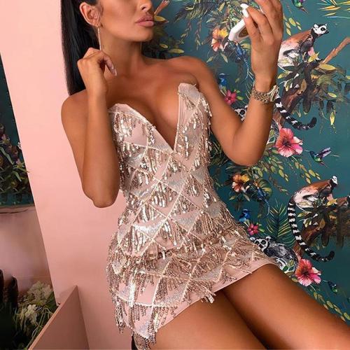 Sexy Deep V Sequin Dress