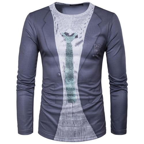 Fake Two-piece Printed Long Sleeve T-shirt