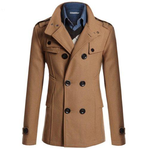 Men Coat Jacket Warm Winter Trench Clothes Long Outwear Button Overcoat Male Casual Windbreaker Overcoat Jackets Wool Blends