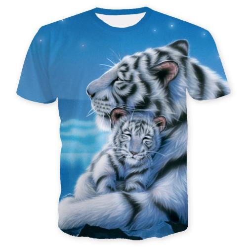 Men's Short Sleeve Printed 3D Tiger Shirt